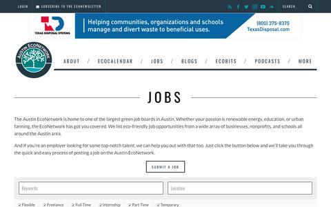 Screenshot of Jobs Page austineconetwork.com - Jobs - Austin EcoNetwork - captured Nov. 6, 2018