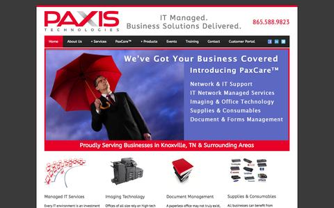Screenshot of Home Page paxistech.com - Managed IT & IT Support Knoxville TN | Paxis Technologies - captured Oct. 2, 2014