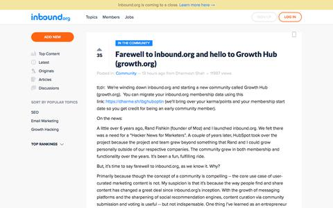 Farewell to inbound.org and hello to Growth Hub (growth.org)