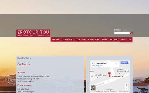 Screenshot of Contact Page erotocritou.com - Contact details for A. G. Erotocriotou LLC in Cyprus - captured Nov. 18, 2016
