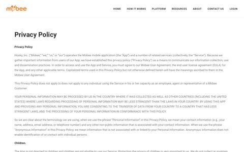 Screenshot of Privacy Page getmobee.com - Privacy Policy | Mobee - captured Dec. 6, 2016