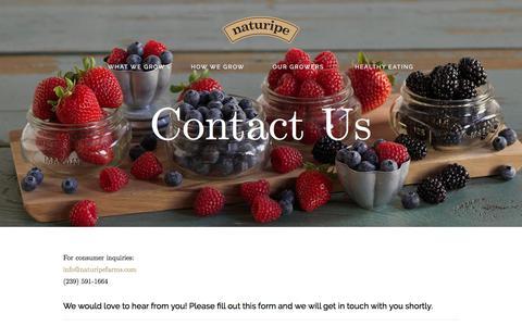 Screenshot of Contact Page naturipefarms.com - Contact   How to Contact Naturipe Farms - captured Oct. 17, 2017