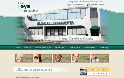 Screenshot of Home Page islandeye.net - Eye Surgery on Long Island | Top Eye Doctor's - Island Eye Surgicenter - captured Sept. 23, 2015