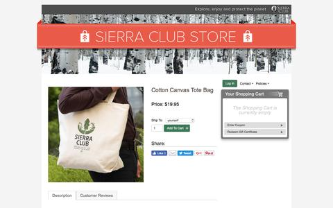 Screenshot of sierraclub.org - Cotton Canvas Tote Bag – Sierra Club Online Store - captured Aug. 18, 2016
