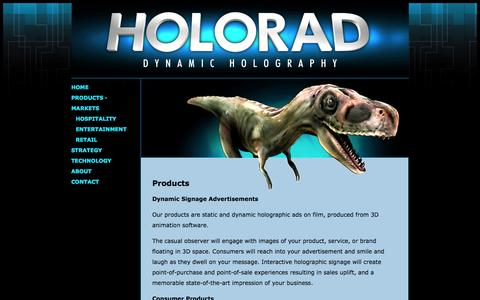 Screenshot of Products Page holorad.com - Holorad: products - captured Sept. 30, 2014