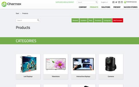 Screenshot of Products Page charmex.net - Charmex Internacional - captured Sept. 27, 2018