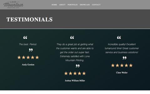 Screenshot of Testimonials Page lonemountainprinting.com - Testimonials - LONE MOUNTAIN PRINTING INC - captured May 22, 2017