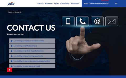 Screenshot of Contact Page jsw.in - JSW - Contact Us - captured Aug. 1, 2019