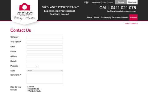 Screenshot of Contact Page ianwilsonphotography.com.au - Contact Us – Ian Wilson Photography - captured Oct. 11, 2018