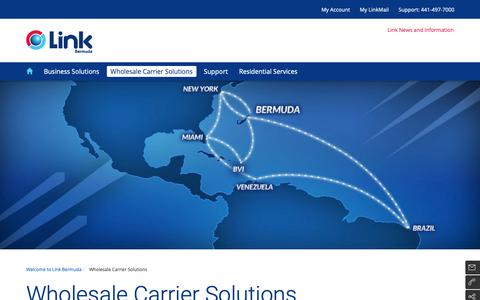 Screenshot of Products Page eastlink.ca - Wholesale Carrier Solutions | LinkBermuda - captured Nov. 5, 2018