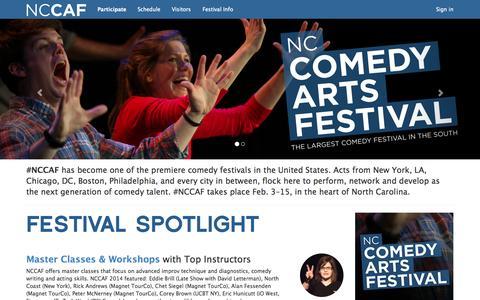 Screenshot of Home Page nccomedyarts.com - #NCCAF - NC Comedy Arts Festival - captured Oct. 7, 2014