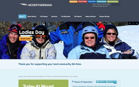 Screenshot of Home Page Hours Page mountpakenham.com - Mount Pakenham Ski Resort - Mount Pakenham Ski Resort - captured Oct. 28, 2018