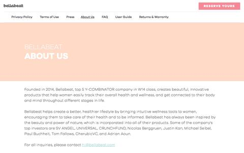 Screenshot of About Page bellabeat.com - Bellabeat - About Us - captured Nov. 4, 2015