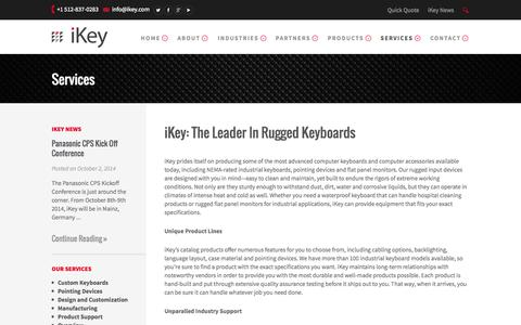 Screenshot of Services Page ikey.com - Services - iKey.COM Tough Keyboards - captured Oct. 6, 2014