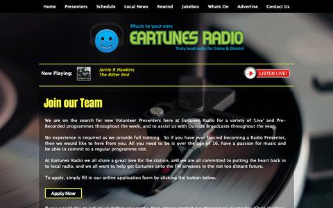 Screenshot of Signup Page eartunes.radio - Eartunes Radio | Join the Team - captured Sept. 26, 2018
