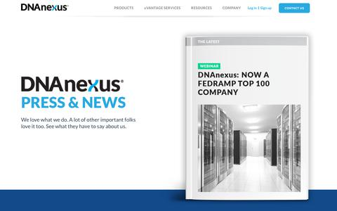Screenshot of Press Page dnanexus.com - Press and News | DNAnexus - captured May 16, 2019