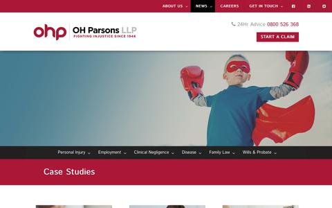Screenshot of Case Studies Page ohparsons.co.uk - Learn More About How We Work & How We Win | OH Parsons - captured Nov. 12, 2017