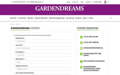 Screenshot of Contact Page gardendreams.nl - Contact - Gardendreams - captured Oct. 26, 2016