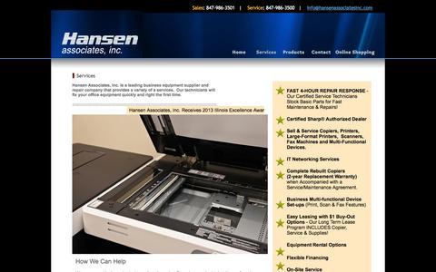 Screenshot of Services Page hansenassociatesinc.com - Hansen Associates, Inc. - captured Oct. 2, 2014