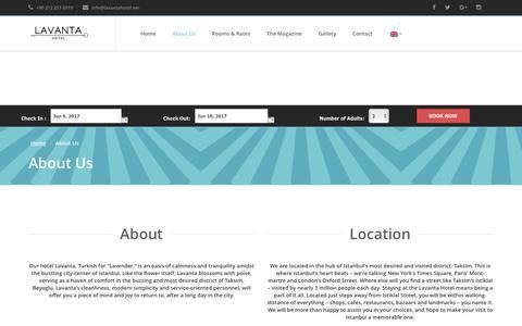 Screenshot of About Page lavantahotel.com - About Us   Lavanta Hotel - captured June 9, 2017
