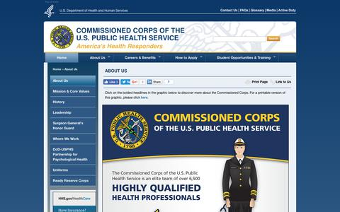 Screenshot of About Page usphs.gov - USPHS: About Us - captured June 24, 2017