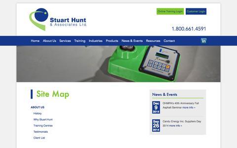 Screenshot of Site Map Page stuarthunt.com - Radiation Safety, Radiation Compliance   Stuart Hunt & Associates - captured Oct. 8, 2014