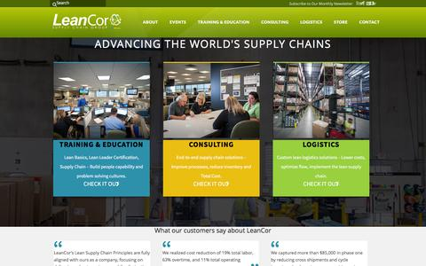 Screenshot of Home Page leancor.com - Lean Logistics & Supply Chain Management System   LeanCor - captured Jan. 27, 2016