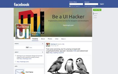 Screenshot of Facebook Page facebook.com - Hacking UI | Facebook - captured Oct. 28, 2014