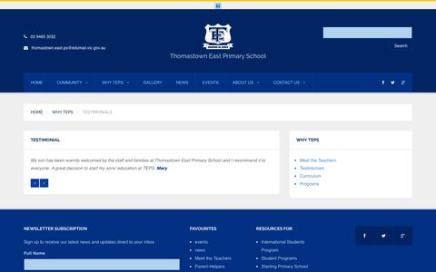 Screenshot of Testimonials Page thomastown-east-ps.vic.edu.au - Testimonials | Thomastown East Primary School - captured March 11, 2016