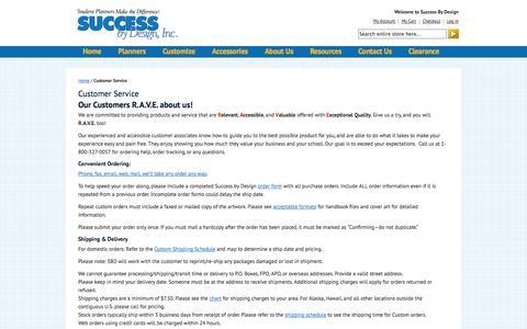 Screenshot of Support Page successbydesign.com - Customer Service  | Success By Design - captured Oct. 6, 2014