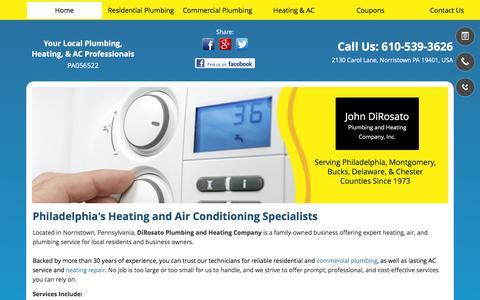 Screenshot of Home Page dirosatoplg-htg.com - Plumbing Services   Norristown PA   DiRosato Plumbing & Heating Co - captured Feb. 11, 2016