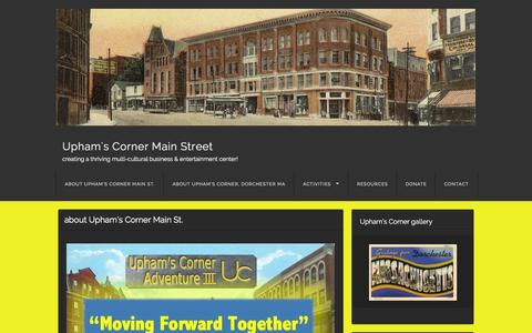 Screenshot of Home Page uphamscorner.org - Upham's Corner Main Street | creating a thriving multi-cultural business & entertainment center! - captured Oct. 6, 2014