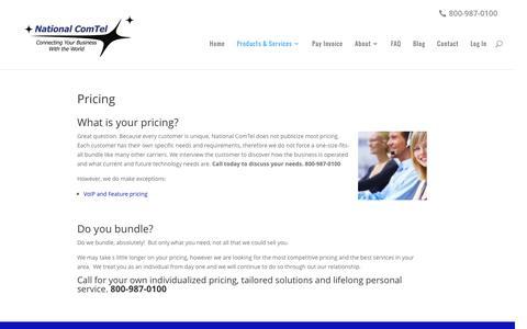 Screenshot of Pricing Page telecommunicationsdenver.com - Pricing - National ComTel - captured Dec. 3, 2016
