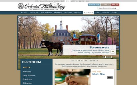 Screenshot of Press Page history.org - Colonial Williamsburg Multimedia : History.org : The Colonial Williamsburg Foundation's official History and Citizenship site - captured Nov. 5, 2014