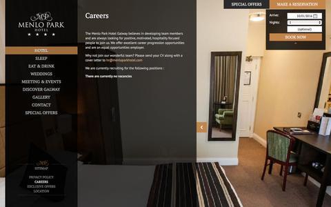 Screenshot of Jobs Page menloparkhotel.com - Hotel Jobs in Galway - Menlo Park Hotel - captured Jan. 9, 2016