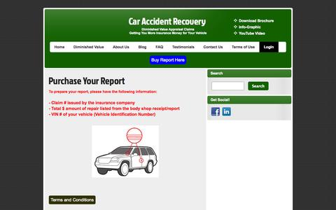Screenshot of Login Page caraccidentrecovery.com - Purchase Your Report | Car Accident Recovery - captured Sept. 26, 2014