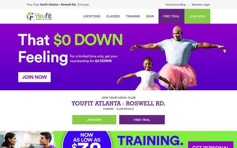 Screenshot of Home Page youfit.com - Youfit Health Clubs | Gyms & Health Clubs Near Me - captured Feb. 18, 2019