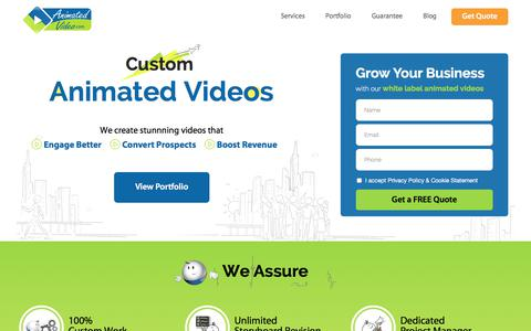 Screenshot of Home Page animatedvideo.com - Custom Animated Video Production Company | Explainer Videos | Animated Video - captured July 9, 2018