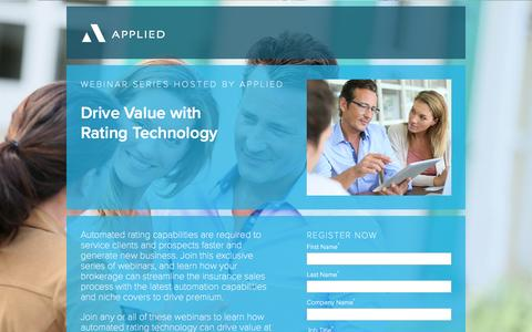 Screenshot of Landing Page appliedsystems.com - Drive Value with Rating Technology - captured Oct. 23, 2016