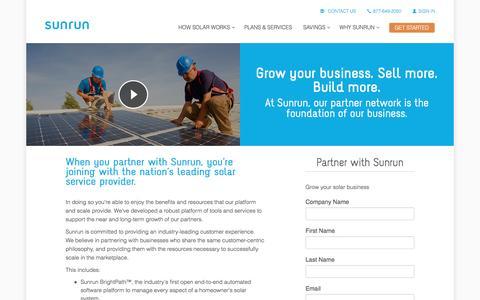 Screenshot of sunrun.com - Solar Partners   Solar Partnerships   Sunrun - captured March 19, 2016