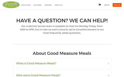 Screenshot of FAQ Page goodmeasuremeals.com - FAQS - captured July 13, 2018
