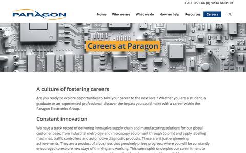Screenshot of Jobs Page paragonelectronicsgroup.com - Careers   Paragon - captured Nov. 30, 2016