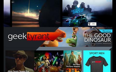 Screenshot of Home Page geektyrant.com - GeekTyrant – Geek Movie and Entertainment News - captured Dec. 1, 2015