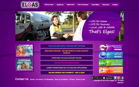 Screenshot of Home Page elgas.com.au - ELGAS - LPG Gas for Home & Business | Gas Bottles Supplier - captured Sept. 23, 2014