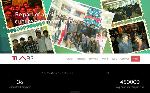 Screenshot of Home Page tlabs.in - TLabs - Best Startup Accelerator in India - captured Aug. 10, 2015