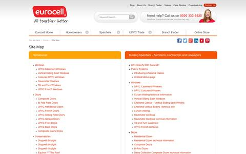 Screenshot of Site Map Page eurocell.co.uk - Site Map   UPVC Manufacturer & Distributor   Eurocell - captured Sept. 23, 2014