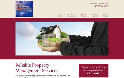 Screenshot of Services Page cyntom.com - Property Management Services | Apartments | Sioux Falls, SD - captured Sept. 4, 2017