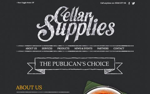 Screenshot of Home Page About Page Services Page cellarsupplies.co.uk - Licensed Trade Wholesaler | Cellar Supplies - captured Oct. 2, 2014