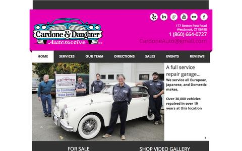 Screenshot of Home Page cardoneanddaughter.com - Cardone and Daughter Automotive - Vintage Car Repair Westbrook, CT - captured Oct. 1, 2014