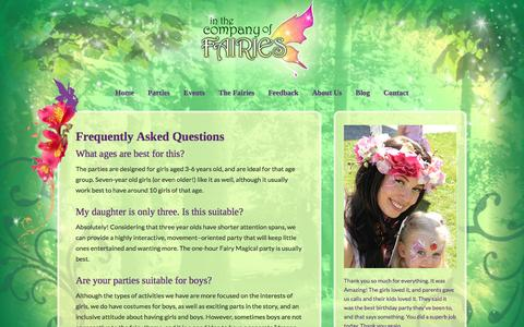 Screenshot of FAQ Page companyoffairies.com - Frequently Asked Questions  | In the Company of Fairies - captured Nov. 19, 2016